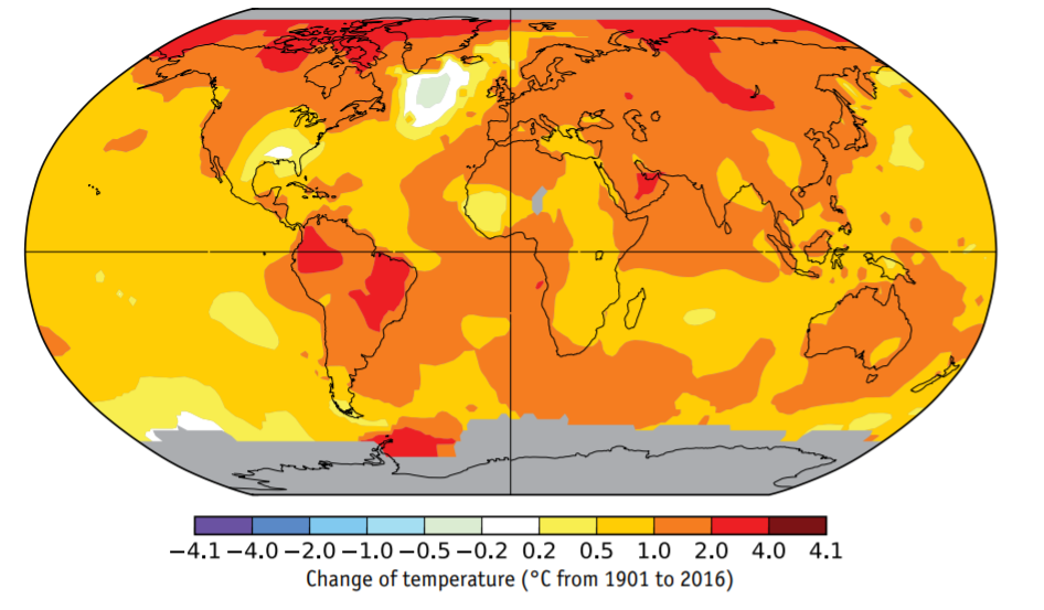 Fig. 1.1. Map of observed changes in surface temperature on Earth from 1901 to 2016.