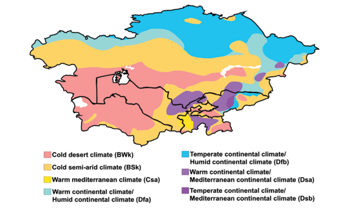 Fig. 1.1.1. Example of a climate map of Central Asia (by W. Köppen).